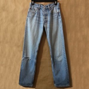Levi's | Vintage 501 Distressed High Rise Button Fly Straight Leg Jeans Cotton
